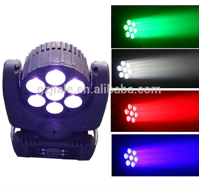 7pcs 12w RGBW 4in1 Led moving head light 7x12w stage light